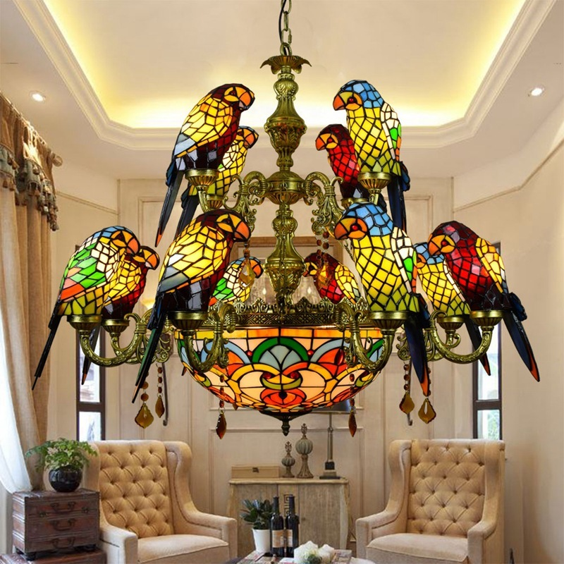 European Style Retro Tiffany Colored Glass Parrot Pendent Lamp Bar Dining Room Living Room Birdie Lamp Glass Lamp