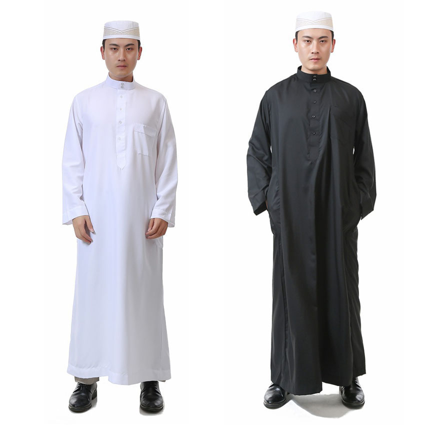 Islamic Ramadan Worship Service Prayer Wear Clothing Man Solid Polyester Muslim Jubba Thobe Long Robe Gown White Dress