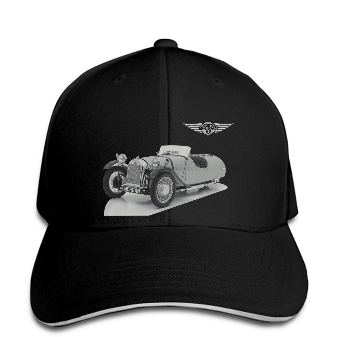 Classic Vintage Morgan 3 Wheeler Car Fine Detail Illustration T-Shirt S to 5XL