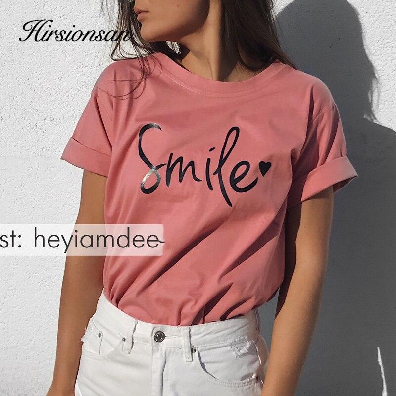 Hirsionsan Letter Printed T Shirt Summer Cotton Women Tshirts Korean Sweet Ladies Tees Comfortable Oversized Black Female Tops