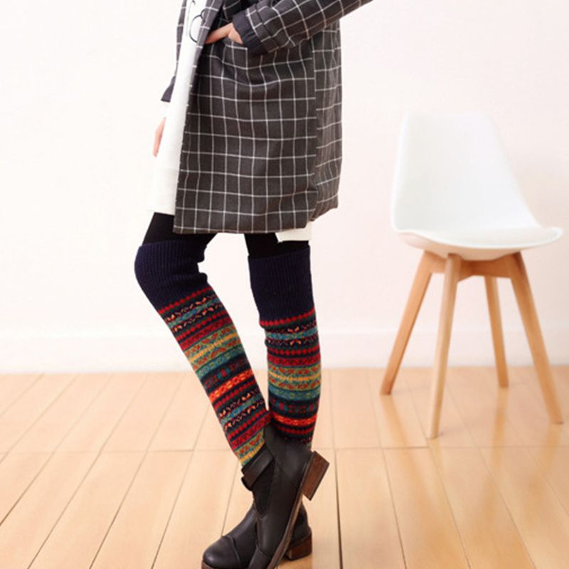 Women Girls Bohemian Knitted Long Leg Warmers Contrast Color Camouflage Stripes Thicken Over Knee High Cover Boot Cuffs Socks
