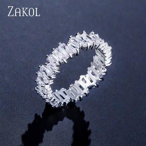 ZAKOL Fashion Luxury Multicolor Charm AAA Baguette Cubic Zirconia Wedding Rings for Women
