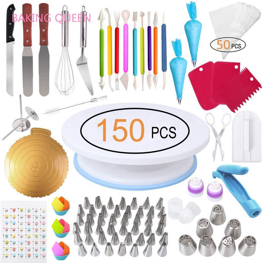 Kit de décoration de gâteaux reine | Accessoires de cuisson 150 en 1 avec support pour plaque tournante à gâteaux, tête de gâteau numérique