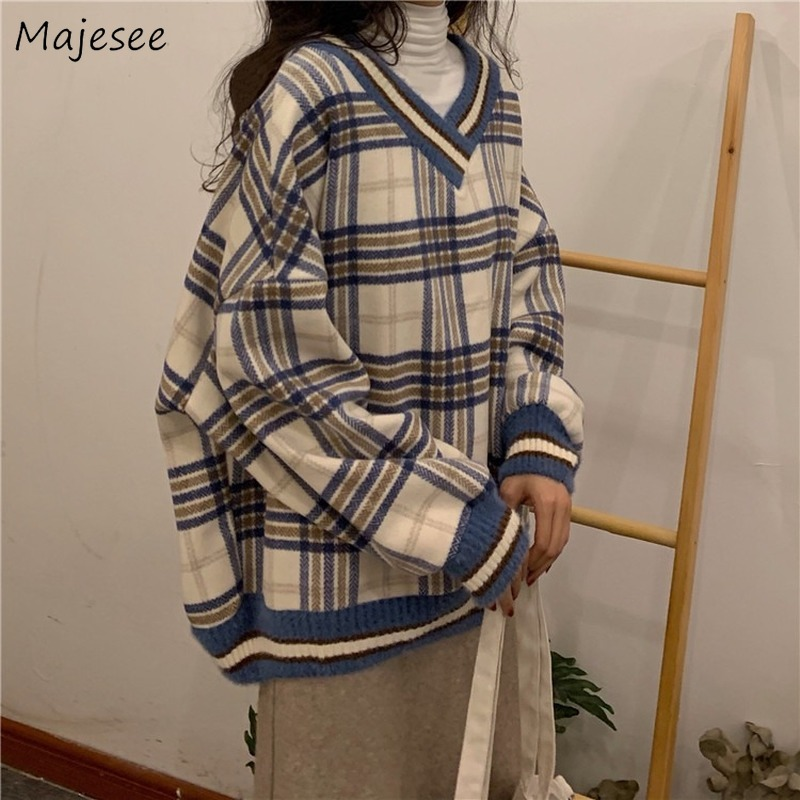 Sweater Women V-neck Plaid All Match Novelty Korean Womens Sweaters High Fashion Harajuku Girls Kawaii Pullovers Winter Clothes