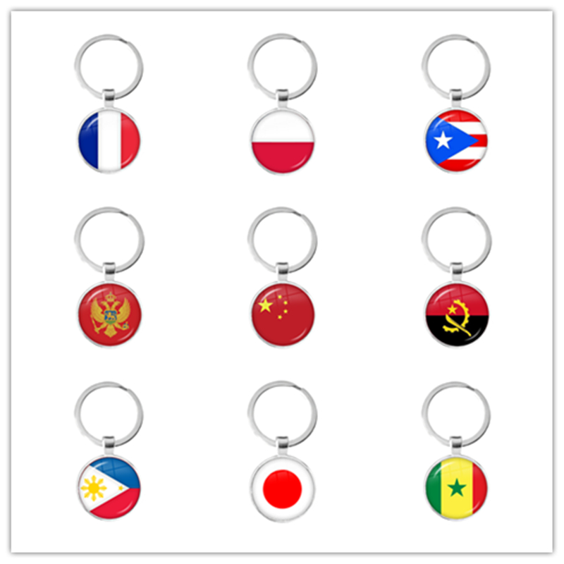 France Poland Puerto Rico Montenegro China Angola Senegal Philippines Japan Glass Cabochon National Flag Keychain Key Ring Gift