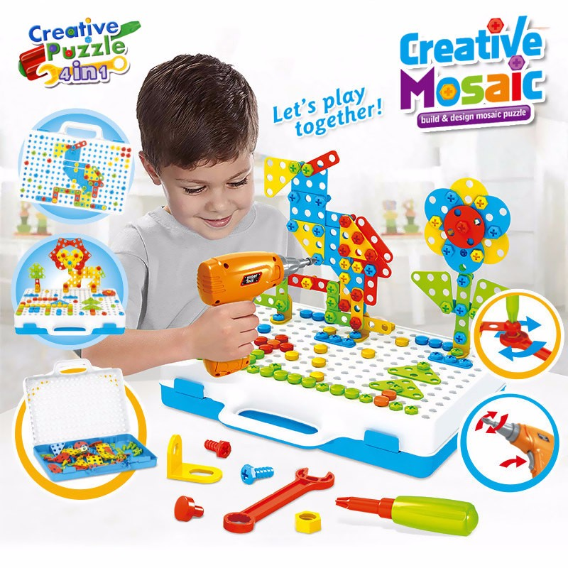 Drilling Screw 3D Creative Mosaic Puzzle Toys For Children Building Bricks Toys Kids DIY Electric Drill Set Boys Educational Toy