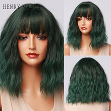 HENRY MARGU Cosplay Lolita Short Bob Wig with Bangs Green Synthetic Water Wave Wig for Women Natural Heat Resistant Wigs