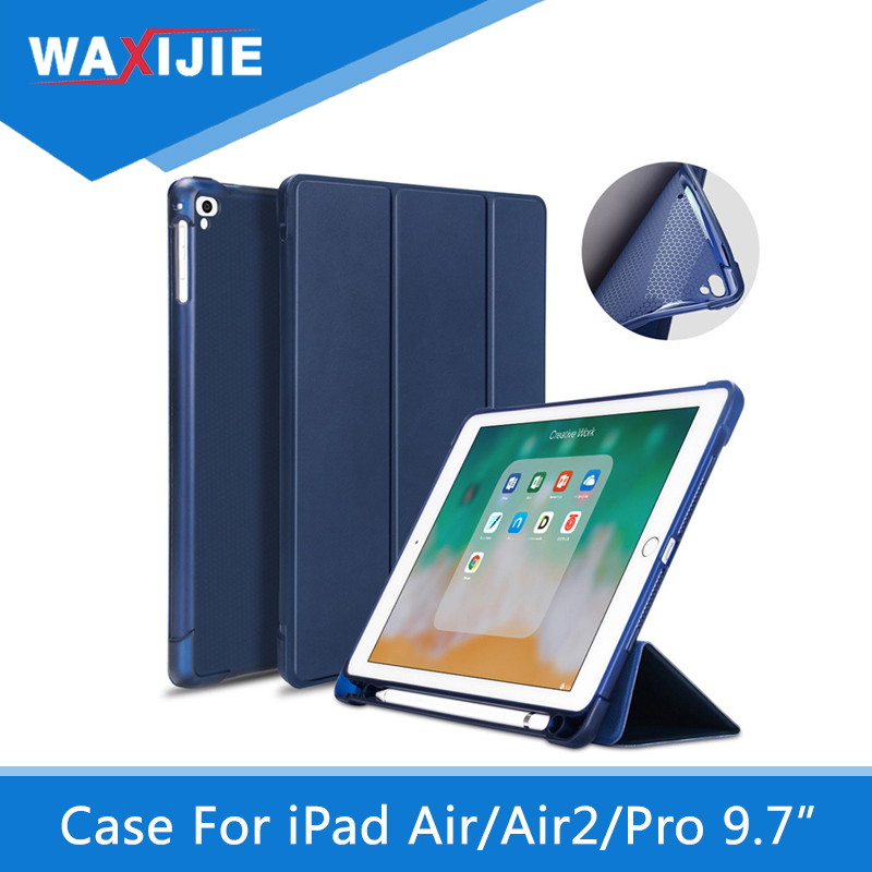Case For iPad 9.7 2018 Pencil Holder Soft Silicone Back Trifold Stand Smart cover for iPad Air/Air2/ Pro 9.7 2017 A1893 A1954