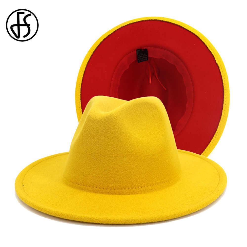 FS 2020 Neue Gelb Rot Patchwork Wolle Filz Jazz Fedora Hüte Männer Frauen Breite Krempe Panama Cowboy Trilby Hut Partei elegante Kappe