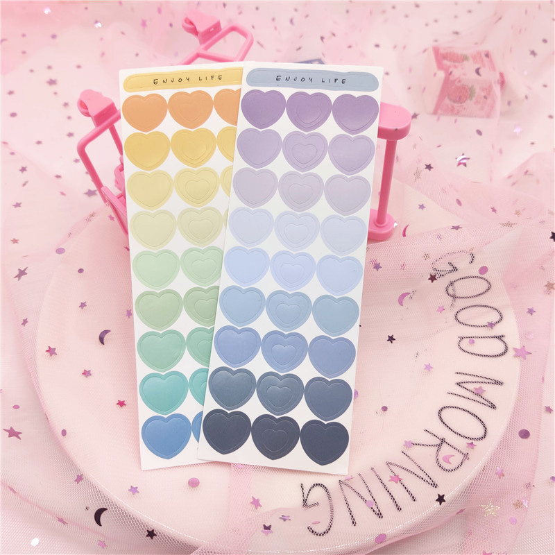 Love Heart Stickers Creative Gradient Color Label Stickers 2 Sheets Students Diary Notebook DIY Decor Stickers Scrapbook Sticker
