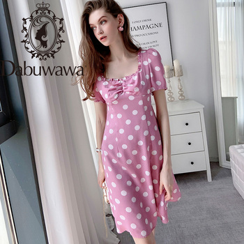 Dabuwawa Vintage Pink A-Line Dot Dress Women Puff Sleeve Square Neck Natural Waist Sweet Fit and Flare Dress Female DT1BDR039 цена 2017
