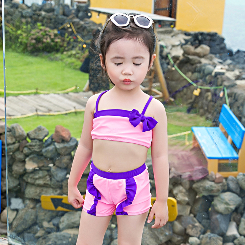 2019 New Style KID'S Swimwear GIRL'S Bikini Girls Sexy Tour Bathing Suit Camisole Solid Color Split Type Swimwear