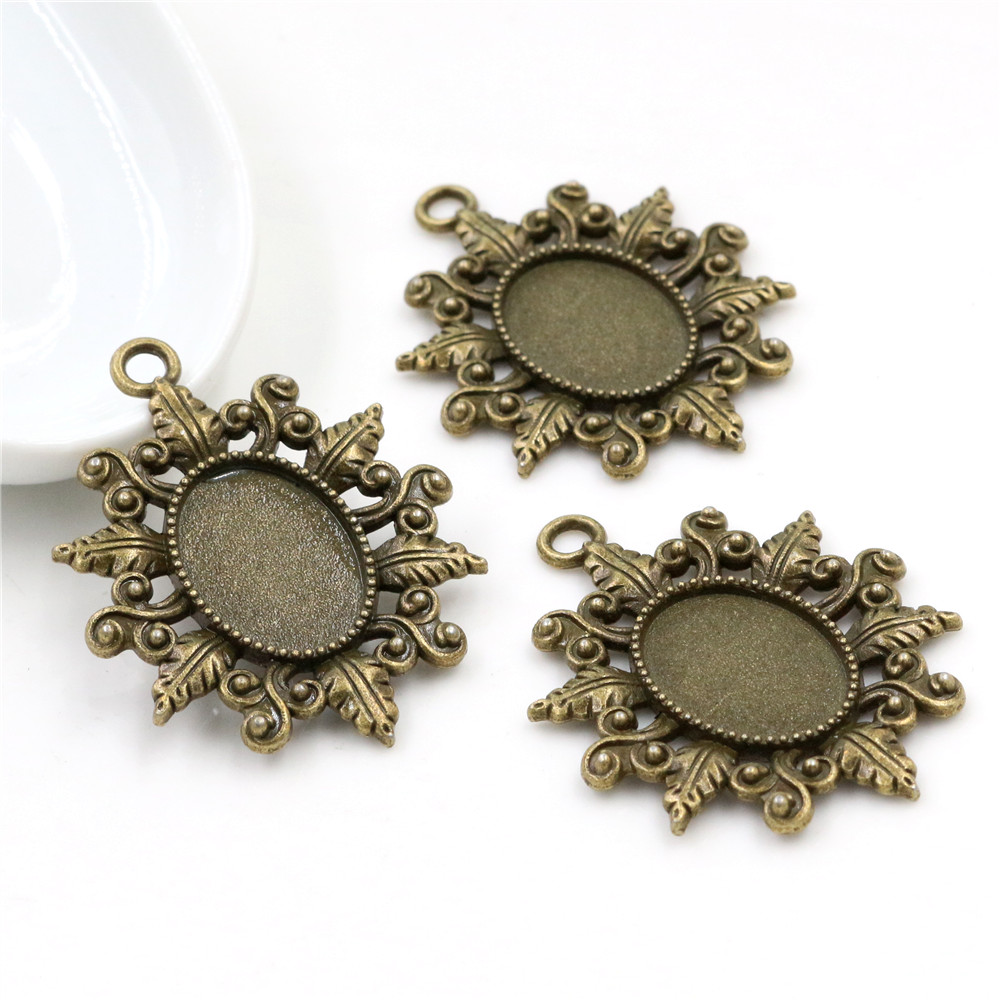 4pcs 13x18mm Inner Size Bronze Cameo Cabochon Base Setting Charms Pendant Necklace Findings (D4-09)
