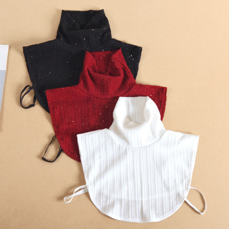 Vintage Fake Turtleneck Collar Women New Stand Shirt Fake False Collar Woman Black Knitted Detachable Collar Shirt Nep Kraagie