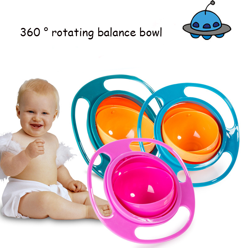 Baby Feeding Food Gyro Bowl Infant Toddler Kids Plate Universal Spill-Proof Bowl 360 Degrees Rotation Gyroscopic Baby Dishes