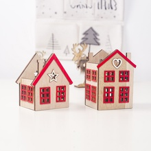 Christmas Candlestick Wooden Candle Holder Household Small House Shape Decoration Craft