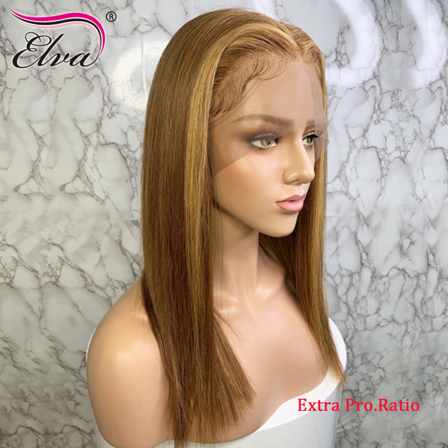 Elva Hair Ombre 13x6 Lace Front Human Hair Wigs Pre Plucked Straight Blonde Color Extra Pro.Ratio 150% Density Remy Hair Wigs