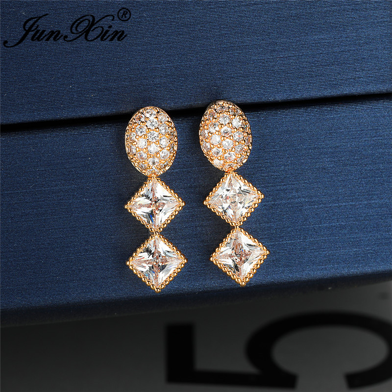 Female Crystal Geometric Oval Square Stone Dangle Earrings For Women White Gold Yellow Rose Gold White Zircon Long Drop Earrings