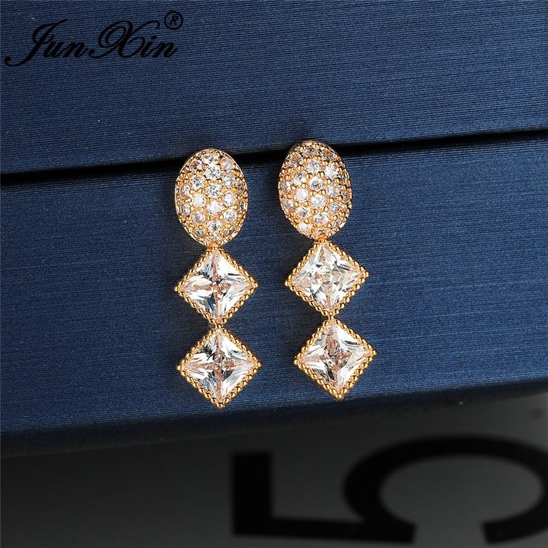 Female Crystal Geometric Oval Square Stone Dangle Earrings For Women White Gold Yellow Rose Gold White Zircon Long Drop Earrings