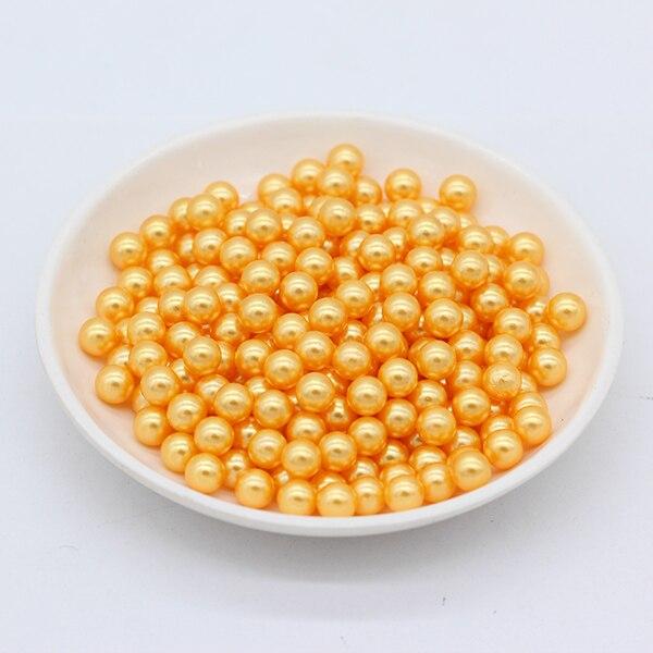 3/4/6/8mm круглый цвет нет отверстия акриловые бусины имитация жемчуга Акриловые бусины украшения, сделай сам, ювелирное изделие ожерелье головной убор, делая для женщин - Цвет: gold