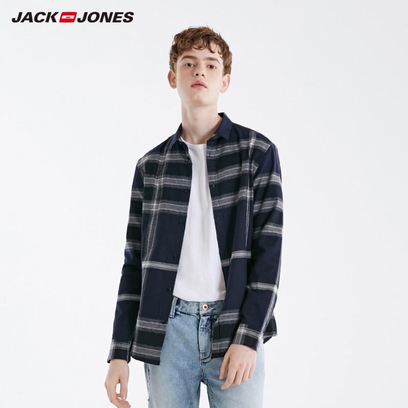 JackJones Men's Slim Fit 100% Cotton Basic Plaid Long-sleeved Shirt| 219105544