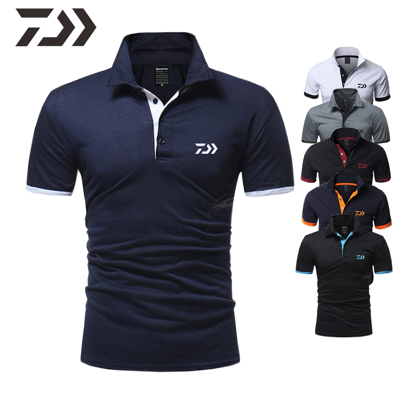 Summer Daiwa Clothing Breathable Fishing Shirts Short Sleeve T Shirts Men Polo Top Fishing Clothing Casual Sport Fishing T Shirt