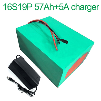 With 5A charger 60V 57Ah 16S19P 18650 Li-ion Battery electric two Three wheeled motorcycle bicycle  ebike 320*210*140mm
