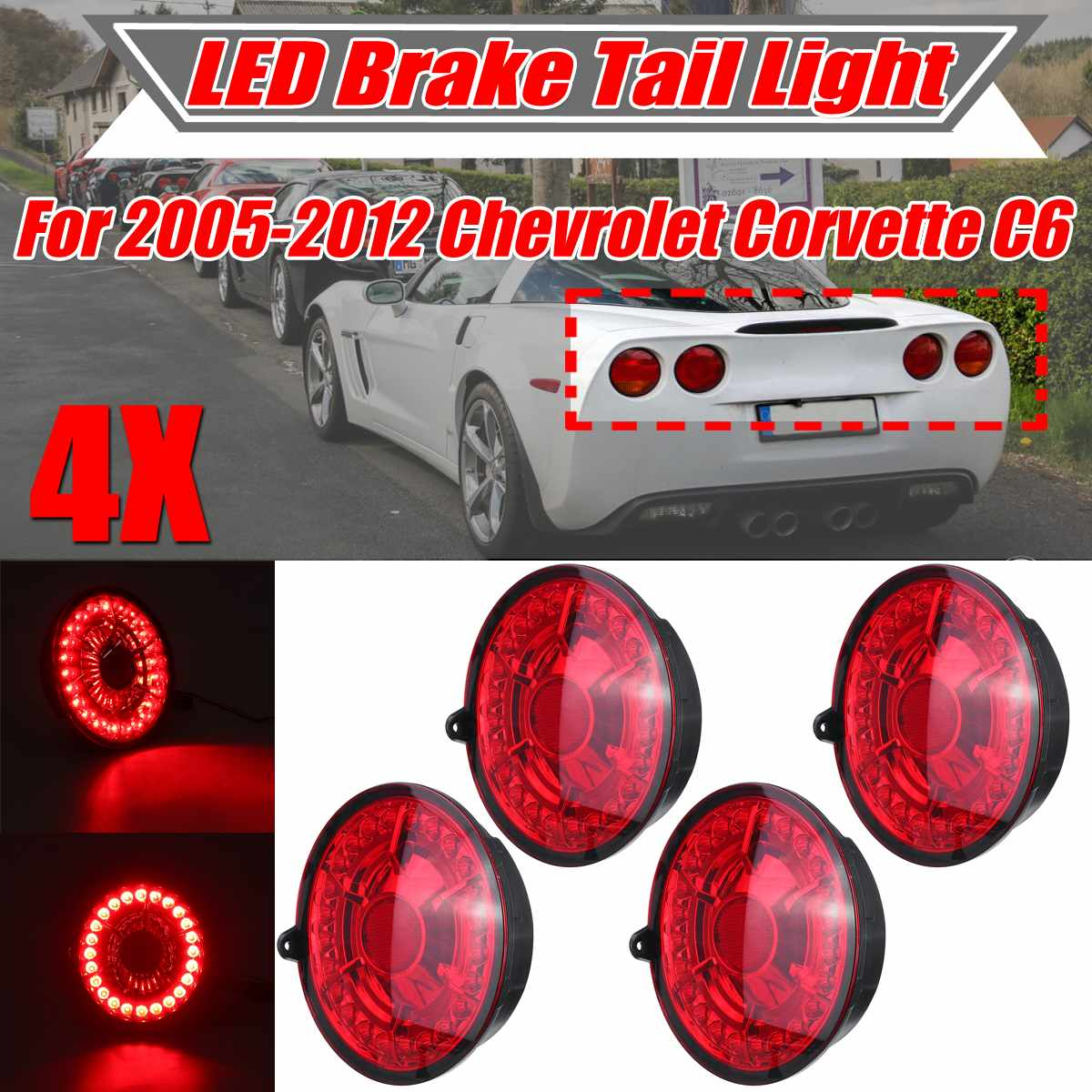 C6 Car Auto LED Tail Lights Stop Brake Light LED Brake Stop Tail Light Lamps For Chevrolet For Corvette C6 For Coupe 2005 2013
