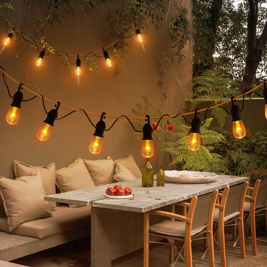 para decoração de quintal pátio e árvore, luz quente branca