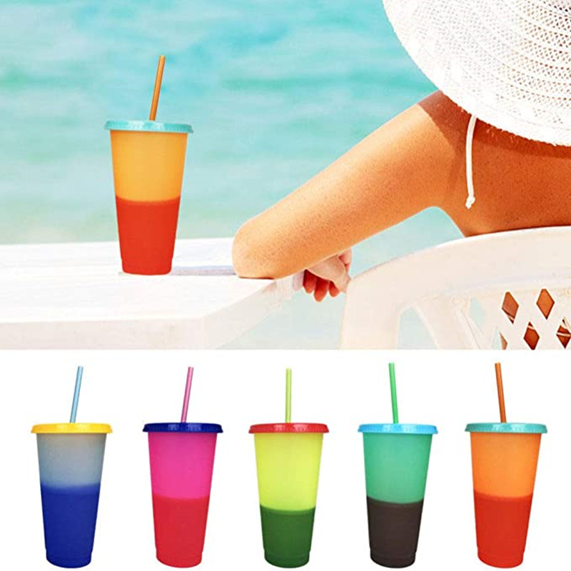 100pcs/lot Reusable Plastic Water Bottles With Straws Temperature Color Changing Cold Cups 700ml Magic Tumblers Birthday Gifts