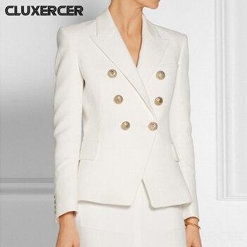 2020 New Elegant Office Lady Wihte Blazer Jacket Female Spring Autumn Long Sleeve Double Breasted Casual Slim Suit Coat