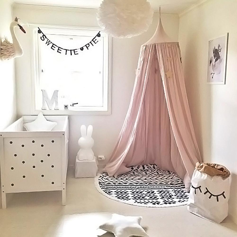 Hot Children Baby Bed Canopy Round Dome Cotton Mosquito Net Nursery Room Decoration  Home Textiles