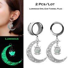 2 pçs aço inoxidável túnel orelha plug orelha calibre luminosa coruja pendientes reamer brinco jóias orelha piercing expansores oreja 4-25
