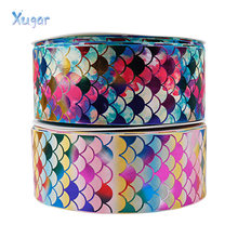 Xugar 75mm 2yards Grosgrain Ribbon For Craft Mermaid Printed Bronzing Tape DIY Hair Bows Apparel Sewing Gift Wrapping Home Decor(China)