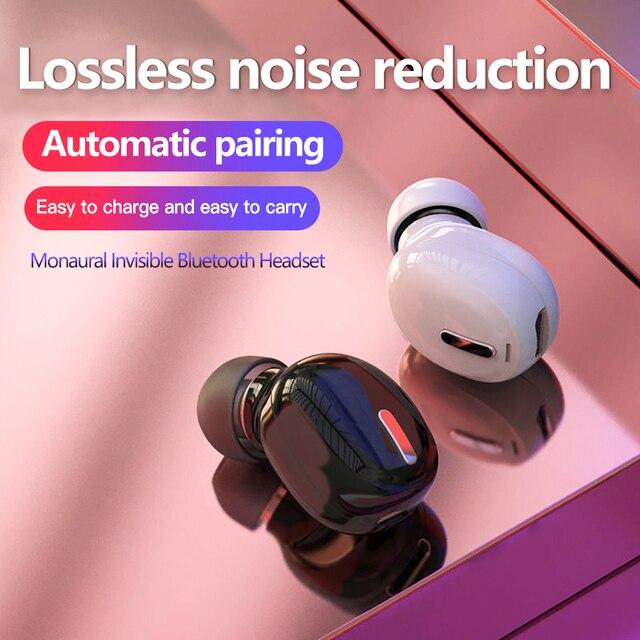 Mini auricular Bluetooth 5,0, auriculares inalámbricos HiFi con micrófono, Auriculares deportivos, manos libres, auriculares de sonido estéreo para todos los teléfonos