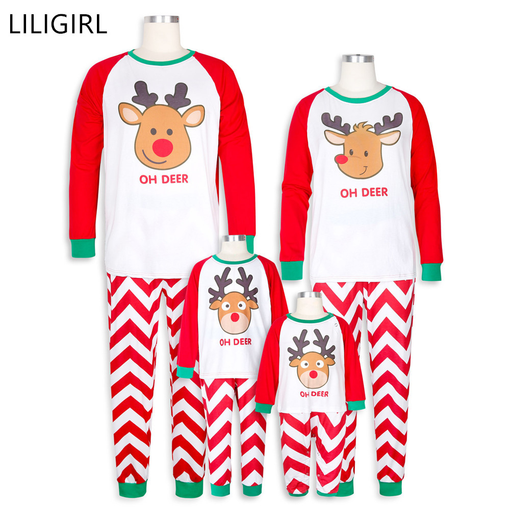 LILIGIRL Cotton Family Matching Clothes Christmas Pajamas Set Xmas Adult Kids Cute Nightwear Pyjamas Cartoon Elk Sleepwear Suit