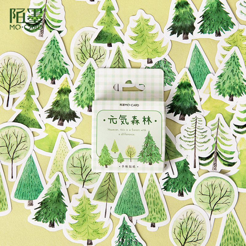 45pcs Fresh Summer Green Forest Series Decorative Stickers DIY Diary Scrapbook Handmade Adhesive Paper Flake Cute Stationery