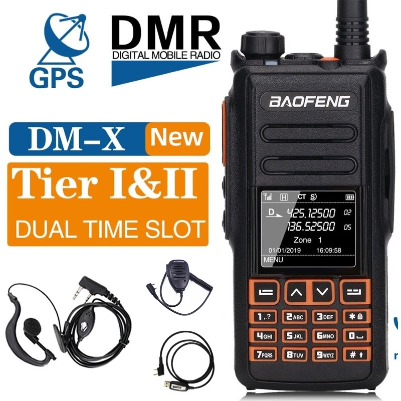 Baofeng Digital Walkie-Talkie DMR Dual-Band DM-X Slot GPS 1--2 Record-Tier With Programming Cable And Earpiece Accessories