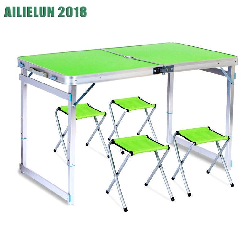 Набор мебели складной стол+4 стула стол складной стол и стул набор для пикника алюминий стол раскладной стол стол туристический походный ст...