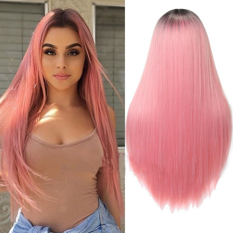 H5681e06e6d8f4e9693c9904a07dd3ed0t - Linghang Ombre Blue Straight Long Synthetic Wigs For Women Black Pink Wigs 24 inch 11 Color can be Cosplay Wigs