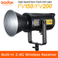 Em estoque godox fv150 150w fv200 200w alta velocidade sincronização flash led luz com embutido 2.4g receptor sem fio + controle remoto