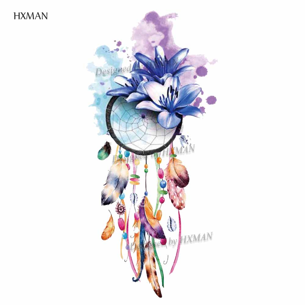 HXMAN Dreamcatcher Temporary Tattoos Waterproof Women Fashion Fake Body Art Arm Tattoo Sticker 9.8X6cm Kids Hand Tatoo T-016