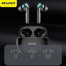 오리지널 AWEI 최신 T15 블루투스 5.0 헤드셋 TWS 무선 이어폰 이어폰 스테레오 마이크 소음 제거 HiFi 게임 헤드셋