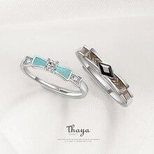 Thaya Zilveren Verlovingsring Voor Vrouwen Echt 925 Sterling Zilveren Trouwringen Shiny Zirconia Party Mode sieraden Gift