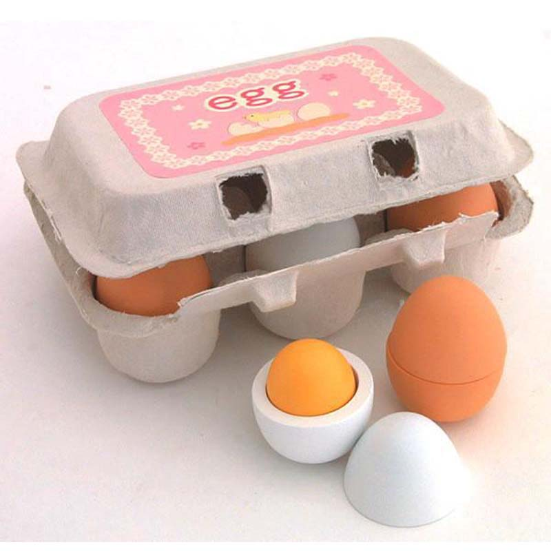 6PCS/Packet Baby Kids Pretend Play Preschool Educational Toy Wooden Eggs Yolk Kitchen Cooking Toy Gifts