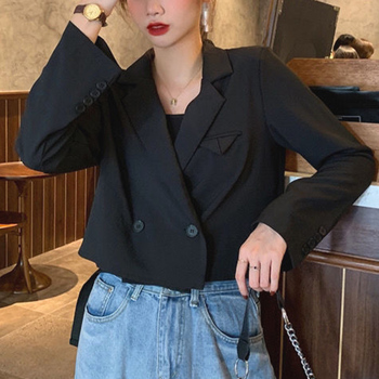 Blazer Women Solid Notched Fashion Short Tops Office Lady Korean Female Clothes New Spring Jacket Autumn 2020