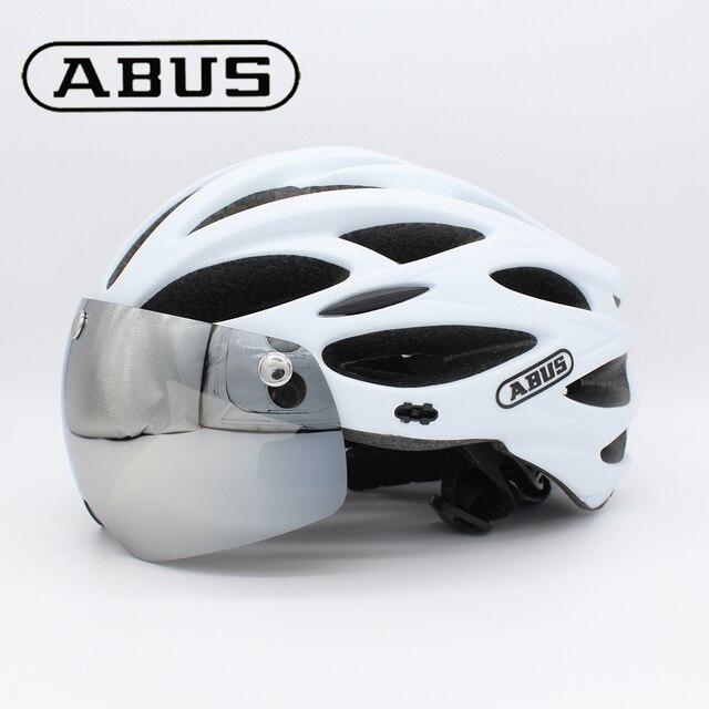 Abus capacete de bicicleta dos homens eps integralmente moldado respirável ciclismo capacete lente aero mtb estrada capacete 1