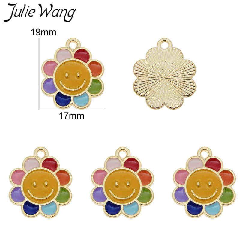 ג 'ולי וואנג 10pcs אמייל צבעוני שמש פרח Smily פנים קסמי סגסוגת זהב טון תליון שרשרת צמיד תכשיטי ביצוע אבזר