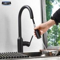 Magnetische Sicheren Dual Funktion Küche Wasserhahn Pull Wasserhahn Kopf 100% Metall Küche Waschbecken Wasser Mischer Wasserhahn Black & Chrome farbe
