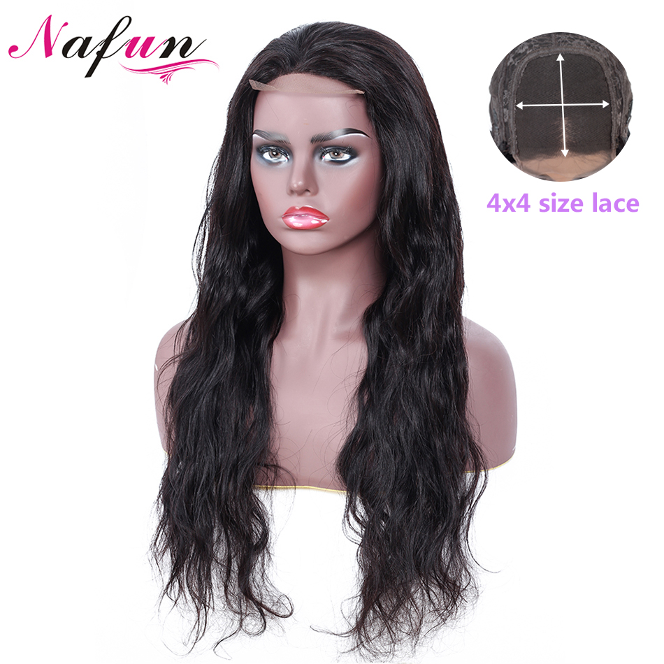 NAFUN 4x4 Lace Closure Wigs For Black Women Remy Hair Body Wave Brazilian Lace Closure Wig Human Hair Wigs Swiss Lace Wig